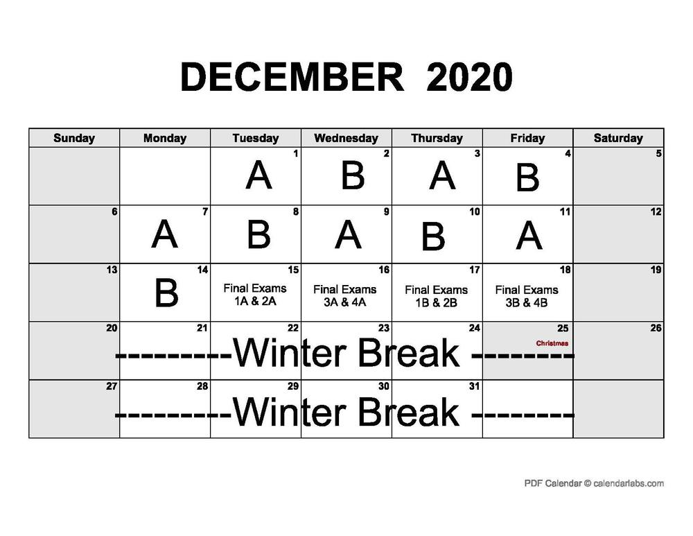 Dec A/B and Finals Calendar