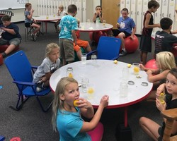Mrs. Whewell's class makes lemon shake-ups.