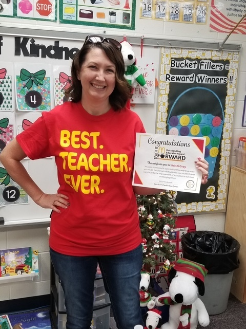 "Mrs. Gray, winner of the ""Teach It Forward McDonalds Outstanding Educators Award"